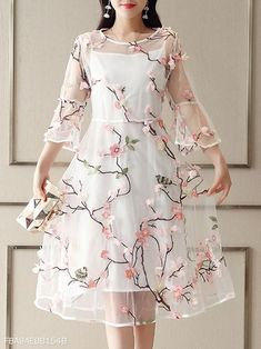 Round Neck See-Through Skater Dress Round Neck See-Through Skater Dress – vmmstores Stylish Dresses, Fashion Dresses, Pretty Dresses, Beautiful Dresses, Evening Dresses, Prom Dresses, Bridal Dresses, Flirt, Dress Silhouette