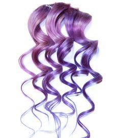 Human Hair Extensions Pastel PURPLE Extensions, Clip In Hair, Dip Dye. $18.00, via Etsy.
