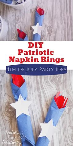 These diy patriotic napkin rings are a perfect beginner Cricut project and also great for your of July party! Patriotic Party, Patriotic Crafts, July Crafts, 4th Of July Party, Fourth Of July, 4th Of July Decorations, Blue Party, Diy Party, Party Ideas
