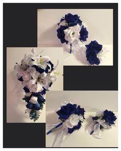 Royal Horizon Blue Silk Rose Flower White  Lily Wedding Bridal Bouquet Package  | eBay