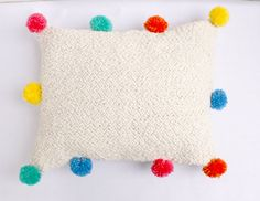 pompon handwoven pillow by ERGANIweaving on Etsy