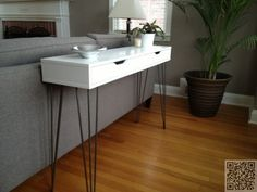 Ekby Alex shelf and hairpin legs from IKEA beomes console table