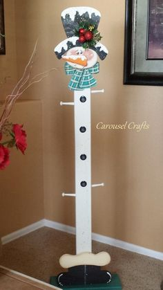 Cute snowman wood craft. Snowman Stocking Holder. Holds up to 4 standard…