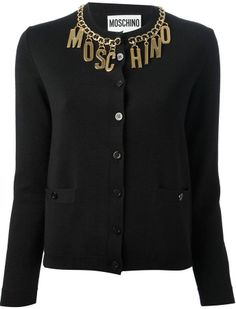 Moschino logo chain collar cardigan on shopstyle.com