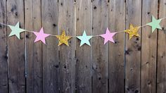 Star Garland, Twinkle Twinkle Little Star Garland, Mint Green, Pink, Gold, photo prop by CraftyCue on Etsy
