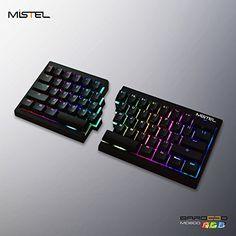 Mistel Barocco Ergonomic Split PBT RGB Mechanical Keyboard with Cherry MX Sliver Switches Black