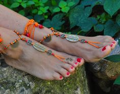 ORANGE and Brass Ethnic BAREFOOT SANDALS Foot Jewelry Wedding Sandals Toe Ring Anklet Crochet Barefoot Sandals Gift for Her