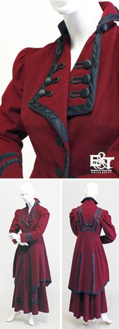 Two-piece burgundy wool suit, 1908.  During the Victorian and Georgian periods, certain elements seen on military uniforms were reworked into women's fashion, especially on women's riding habits and coats. Occasionally, woman's fashionable garments, such as this two-piece burgundy wool suit, adopted a few military elements like frog closers, chevrons on the sleeves, and a particular style of jacket.  Via Ethnology and Textiles blog, Museum of Texas Tech Univ.