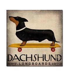NEW ILLUSTRATION  DACHSHUND Wiener Dog Longboards by nativevermont, $69.00