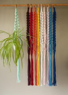 Home decor Kids room, macrame plant hangers Colorful plant holders Spiral knotted