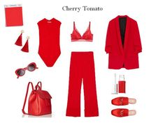 Cherry Tomato in the fast fashion stores. Body, blaser, trousers: Zara, shoes, bra, sunglasses, earrings: h&m. #pantone #zara #spring #red