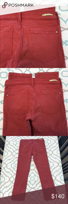 """💙👖CUTE Anthropologie Pilcro Jeans👖💙27 3/4 26"""" 💙👖Cute Pilcro and the letterpress Capri👖💙 Stet Crop. Size 27 (3/4). Short. 26"""" Inseam. 8.5"""" Rise. Great with Flats Sandals & Tall Boots too! 14.5"""" Across Back. Great Stretch. Slightly Faded. Soft Warm Tomato 🍅 Red Color. Excellent Used Condition. LOVE! Pilcro! Anthro! Anthropologie! Ask me any questions! : ) Anthropologie Jeans Ankle & Cropped"""