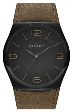 52493f12e3b Skagen  Studio  Round Leather Strap Watch