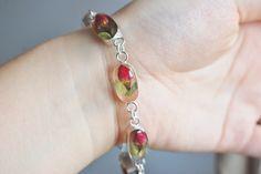Real Rose Bracelet Sterling Silver Resin Jewelry Real Flowers Rosebud Love Romantic / Wedding / Bride.