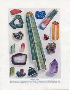 Jahrgang Edelsteine Print von den Wundern des Universums datiert 1912. Mit dem Titel Edelsteine ein Crystal Therapeuten Vintage Farbdruck