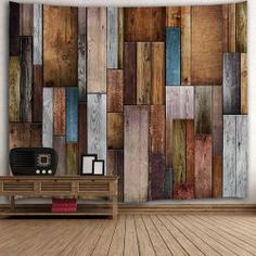 Vintage Wood Texture Decorative Wall Tapestry - COLORMIX W71 INCH * L91 INCH Mobile