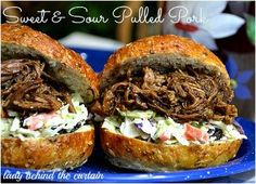 This pulled pork slow cooker recipe for Sweet and Sour Pulled Pork is a gem among slow cooker pulled pork recipes. It's made with bell peppers, homemade sauce, onion, and more. Pulled Pork Recipe Slow Cooker, Pulled Pork Recipes, Slow Cooker Pork, Slow Cooker Recipes, Crockpot Recipes, Ham Recipes, Slow Cooker Appetizers, Appetizer Recipes, Sweet And Sour Recipes