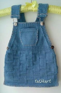 "Baby dress color ""jeans"" pattern by tatiana Martin – Stricken sie Baby Kleidung Baby Knitting Patterns, Knitting For Kids, Lace Knitting, Crochet For Kids, Baby Patterns, Dress Patterns, Knit Crochet, Knitting Projects, Knitting Sweaters"