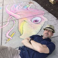 David Zinn: 'Spent some good quality time meeting new friends at A2CAF yesterday! Parroctopus says she'll write.' — at Ann Arbor District Library