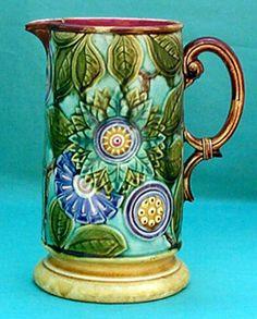 """Les pichets en barbotine de Nimy Pichet """" Floral """" hauteur 23 cm Cachet """" Mouzin-Lecat """" 1851 -1890"""