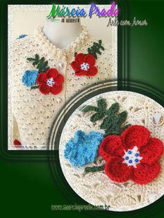 floral applique - notice the blue beads Crochet Jacket, Crochet Art, Crochet Cardigan, Wedding Invitation Trends, Loom Knitting Projects, Crochet Summer Tops, Beautiful Crochet, Crochet Clothes, Yarn Over