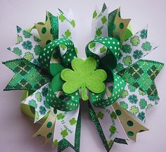 boutique LIME and EMERALD green st pattys over the top hair bow clip with felt shamrock appilique. $12.99, via Etsy.