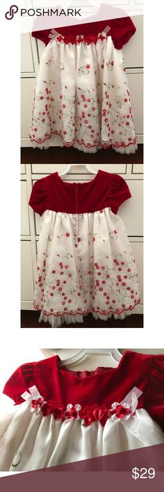 Baby girl dress Such a beautiful detailed dress. Perfect for any special occasion. Has sequins on the florals on the bottom of the dress. Shown in pics above. Dresses