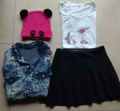 Look del día  #remera unicornio $170 #camisa batik $390 #pollera $290 #gorro panda (agotado) siguetusueno.mitiendanube.com