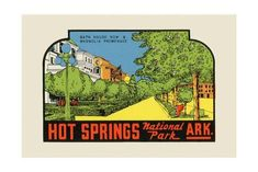 Hot Springs National Park, Arkansas - Bath House Row - Vintage Advertisement Art Print by Lantern Press at Art.com