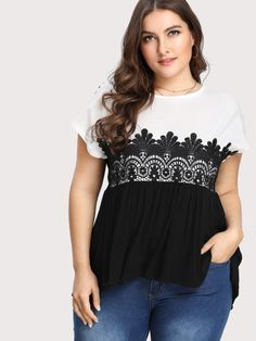 943ea5eeabb06 Plus Two Tone Lace Applique T-shirtFor Women-romwe Cheap Clothes