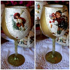 decoupage Christmas Decoupage, Christmas Crafts For Kids, Crafts To Make, Diy Crafts, Hand Painted Wine Glasses, Bottle Art, Tableware, Advent, Flowers