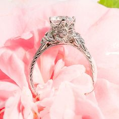 Unique vintage style engagement ring 14k white gold with diamonds semimount