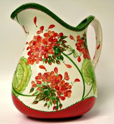 quenalbertini: Red and green pitcher China Painting, Ceramic Painting, Ceramic Art, Pottery Painting Designs, Pottery Designs, Color Me Mine, Red Geraniums, Paint Your Own Pottery, Ceramic Pitcher