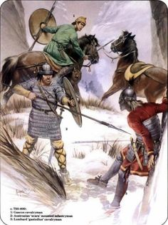 Frankish soldiers of Charlemagne corner off Lombard warrior 800 AD