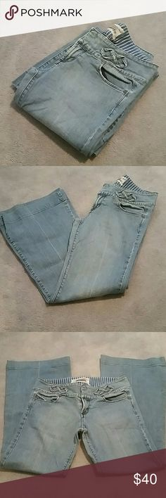 """JAK&RAE Jeans sz 29 from {Anthropologie} JAK & RAE Wide Jeans from Anthro, lighter wash, great condition with cute detailing  Smoke and pet free home  100% cotton  Approx Measurements :  Waist 15"""" Rise 8.5"""" Inseam 29.5"""" Leg opening 10.5"""" Anthropologie Jeans Flare & Wide Leg"""