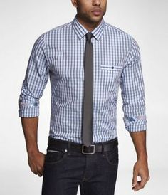 FITTED PLAID CONTRAST DETAIL SHIRT at Express
