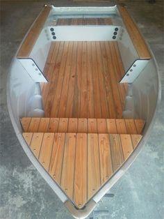 Aluminum Boat with Teak Decking Aluminum Fishing Boats, Small Fishing Boats, Aluminum Boat, Small Boats, Wood Boat Plans, Boat Building Plans, Sailboat Plans, Boat Dock, Pontoon Boat