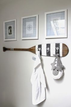 Coastal Nursery The perfect accessory for the nautical nursery. Paddle wall hooks, with a customised paint scheme.