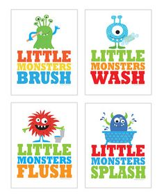 Love this Monsters Bathroom Print Set
