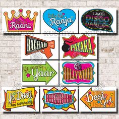 ★★★★★ DIGITAL DOWNLOAD ONLY ★★★★★ No physical items will be printed and mailed to you ★★★★★ These photo booth props/signs are available for you to download and print today! Perfect for Indian and Bollywood themed parties and celebrations. Complete your purchase to receive two High
