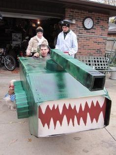 Tank wheelchair costume Creative Costumes, Halloween Costumes For Kids, Diy Costumes, Fall Halloween, Costume Ideas, Wheelchair Costumes, Minecraft Party, Adult Children, Fancy Dress