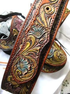 Hand Tooled Western Leather Gun Belt Leather Holster and by SPnaE
