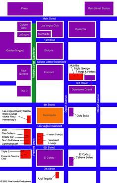 Map of Fremont Street Bars, Downtown Las Vegas | Fremont Street Bars • Downtown Las Vegas