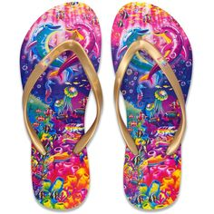 Lisa Frank Flip Flop with Authentic Lisa Frank Prints ** Additional details found at the image link : Gladiator sandals Lisa Frank Clothing, Heather Lee, Lisa Frank Stickers, How To Make Clothes, Making Clothes, Womens Flip Flops, 90s Kids, Flip Flop Sandals, Slippers