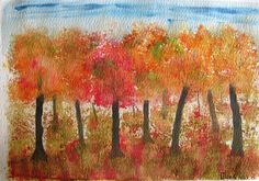 Watercolour - using sponge - AUTUMN
