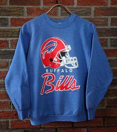 9a9297d42 Vintage 90 s Buffalo Bills Script Crewneck Sweatshirt SZ L Vintage  Sportswear