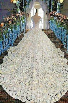 828ad911f2 Luxury Wedding Dress Bride Ball Gown Long Sleeve Lace Floral Decor  Handcrafted  BallGown  Wedding