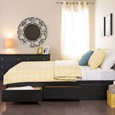 Enhance an outdated bedroom with this sophisticated black platform storage queen-size bed, which features excellent space to store sheets, bedside reading, and other items. With its six storage drawers, this queen-size bed is functional and beautiful.