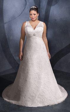 Elegant V-neck Lace A-line Sleeveless white Court Train Plus Size Wedding Dresses - Wedding Dresses