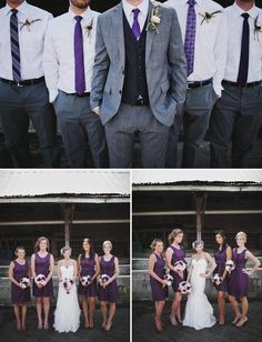 idea for guys dress--like the different ties and styles. Have the purple switched with copper for the guys though and black dresses with copper accent for the girls
